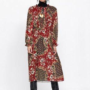 Zara Metallic Thread Peasant Dress